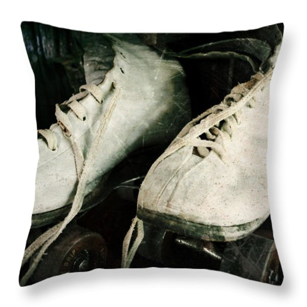1950's Roller Skates Throw Pillow by Michelle Calkins