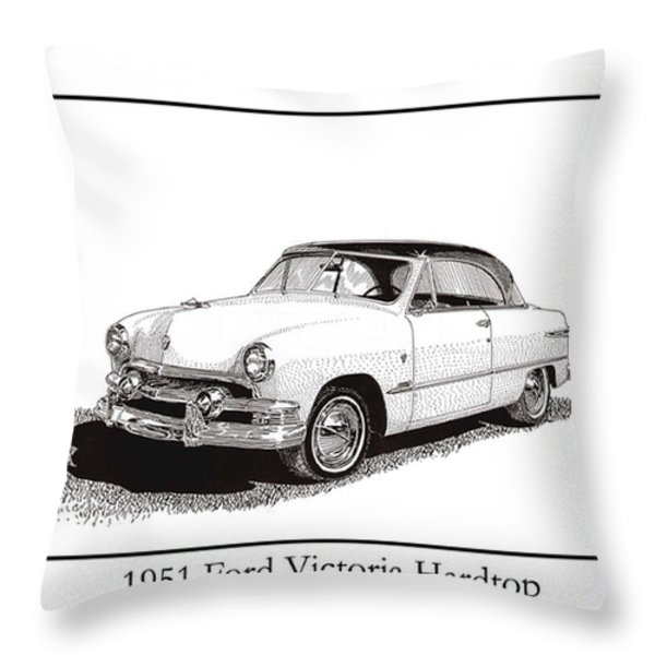 1951 Ford Victoria Hardtop Throw Pillow by Jack Pumphrey