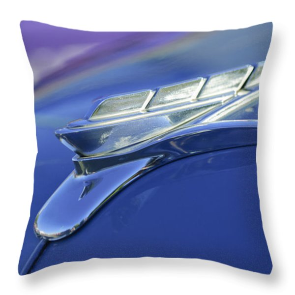 1951 Plymouth Hood Ornament Throw Pillow by Jill Reger