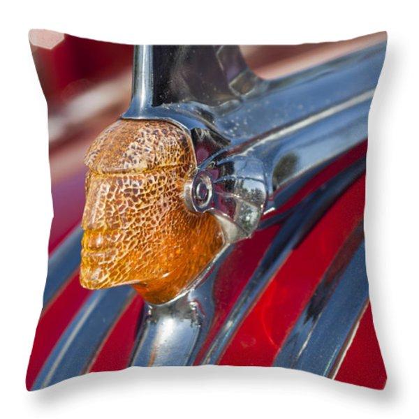 1951 Pontiac Chief Hood Ornament Throw Pillow by Jill Reger