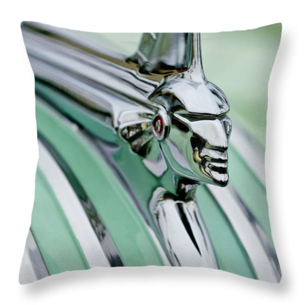 1951 Pontiac Streamliner Hood Ornament 3 Throw Pillow by Jill Reger