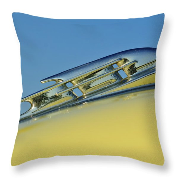 1953 Plymouth Hood Ornament 2 Throw Pillow by Jill Reger