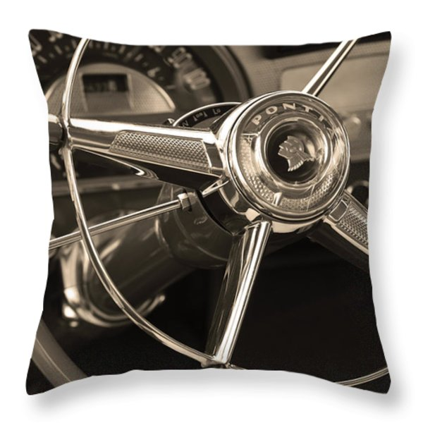 1953 Pontiac Steering Wheel - Sepia Throw Pillow by Jill Reger