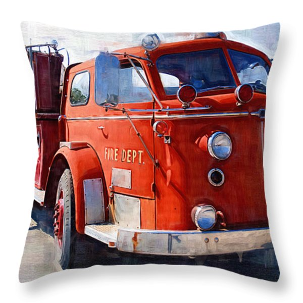 1954 American Lafrance Classic Fire Engine Truck Throw Pillow by Kathy Clark