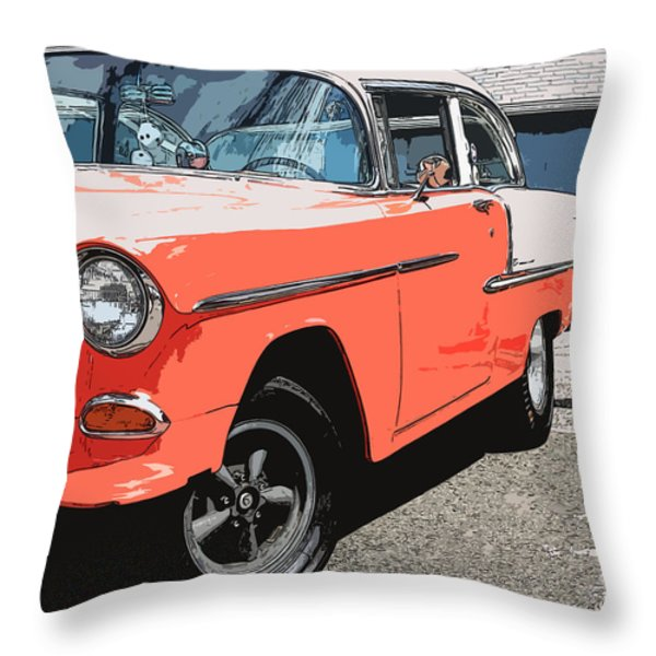 1955 Chevy Throw Pillow by Steve McKinzie