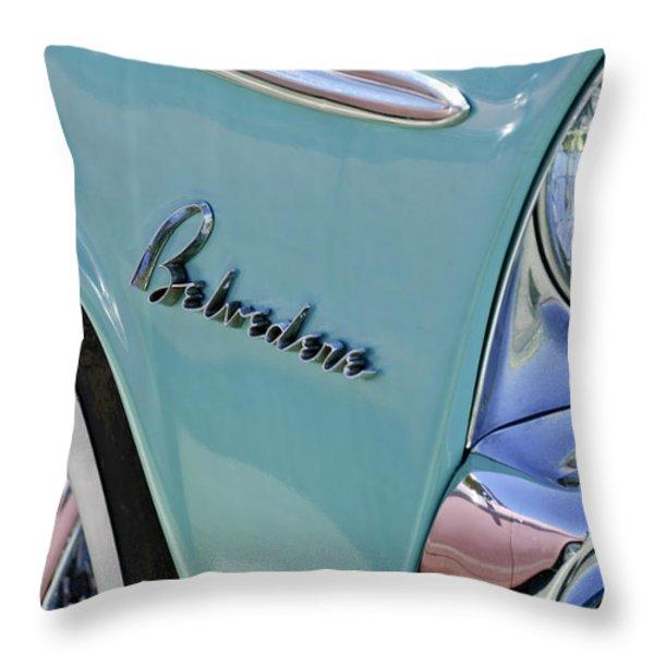 1955 Plymouth Belvedere Emblem Throw Pillow by Jill Reger