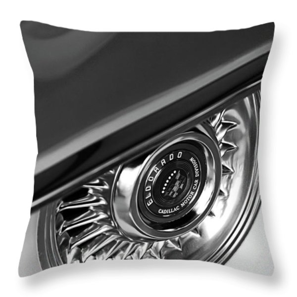 1956 Cadillac Eldorado Wheel Black And White Throw Pillow by Jill Reger