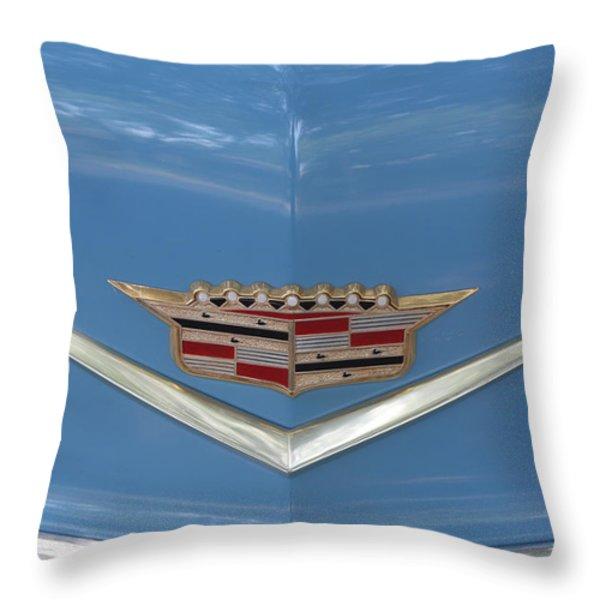 1956 Cadillac Emblem Throw Pillow by Linda Phelps