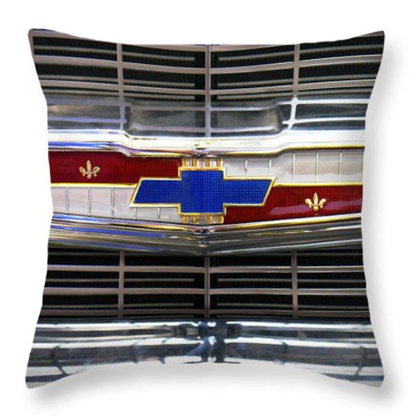 1956 Chevrolet Grill Emblem Throw Pillow by Mike McGlothlen
