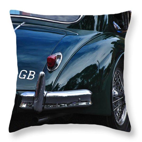 1956 Jaguar Xk 140 - Rear And Emblem Throw Pillow by Kaye Menner