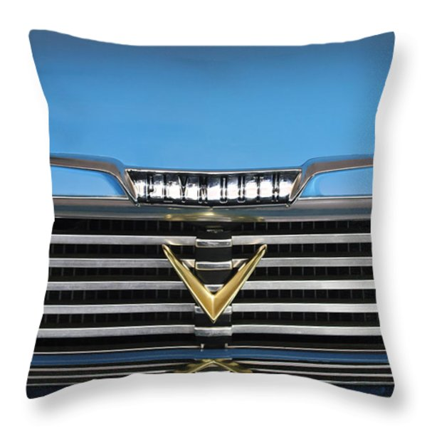 1958 Plymouth Belvedere Convertible Grille Emblem Throw Pillow by Jill Reger