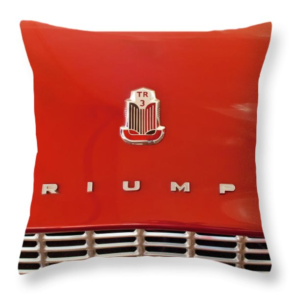 1960 Triumph Tr3 Emblem Throw Pillow by Jill Reger