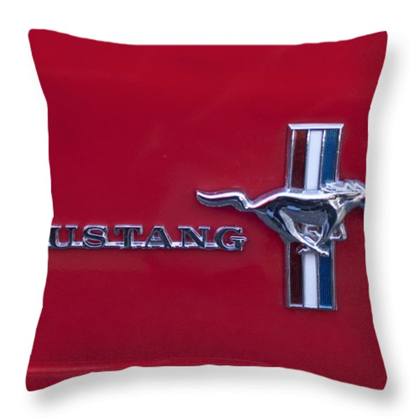 1965 Ford Mustang Emblem 4 Throw Pillow by Jill Reger