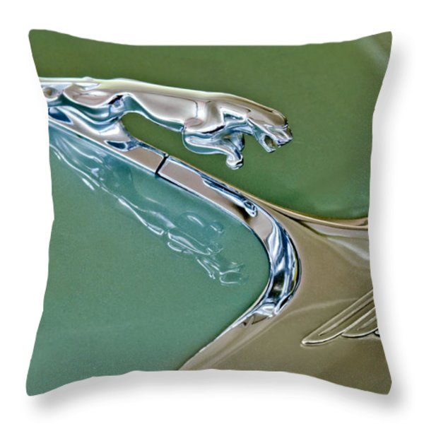 1966 Jaguar Hood Ornament Throw Pillow by Jill Reger