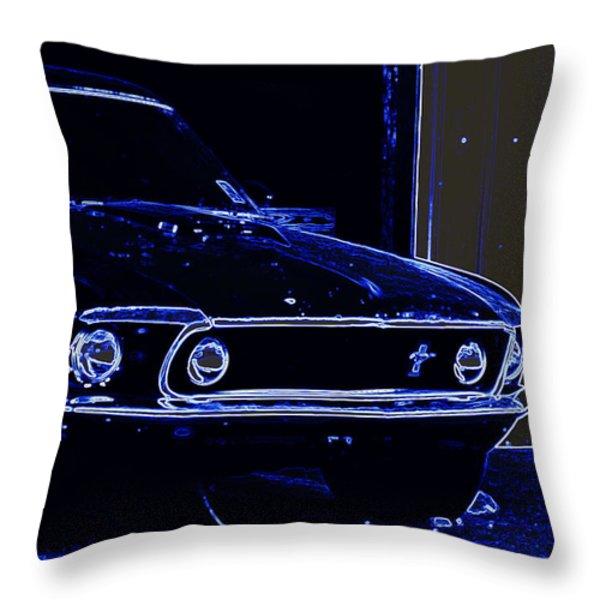 1969 Mustang In Neon Throw Pillow by Susan Bordelon