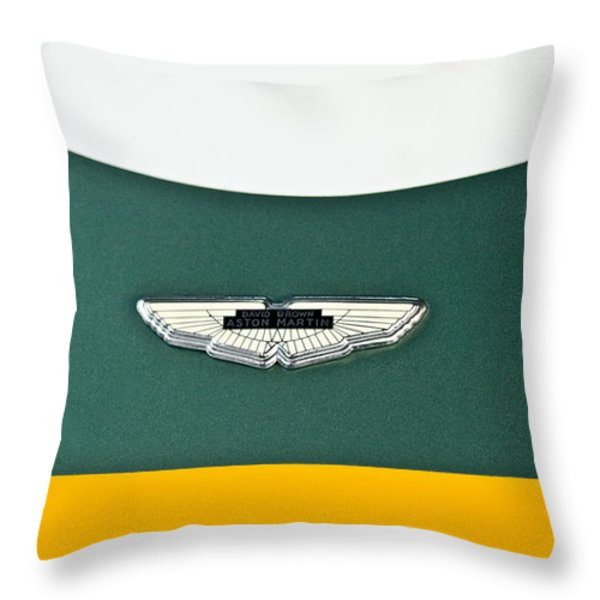 1993 Aston Martin Dbr2 Recreation Hood Emblem Throw Pillow by Jill Reger