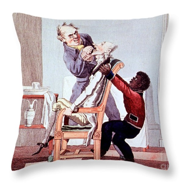 19th Century Dentistry Tooth Extraction Throw Pillow by Science Source