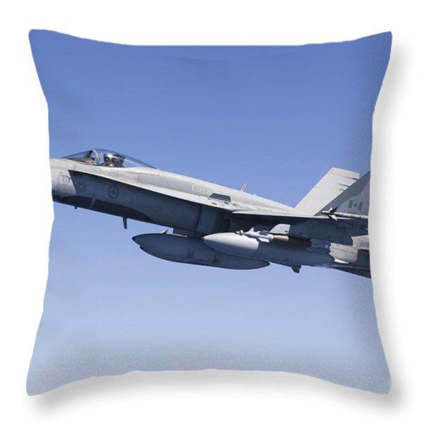 A Cf-188a Hornet Of The Royal Canadian Throw Pillow by Gert Kromhout