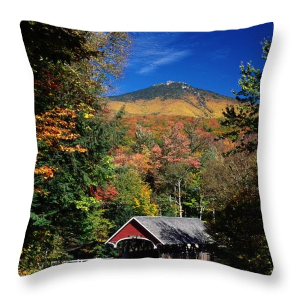 A Covered Bridge Throw Pillow by Richard Nowitz