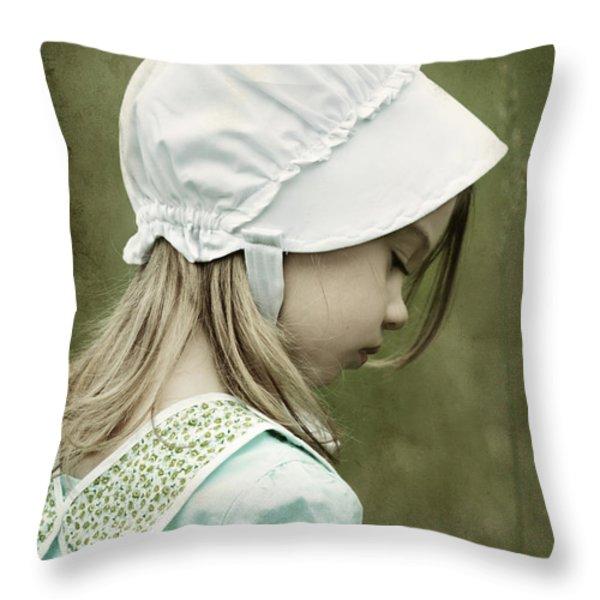 Amish Child Throw Pillow by Stephanie Frey