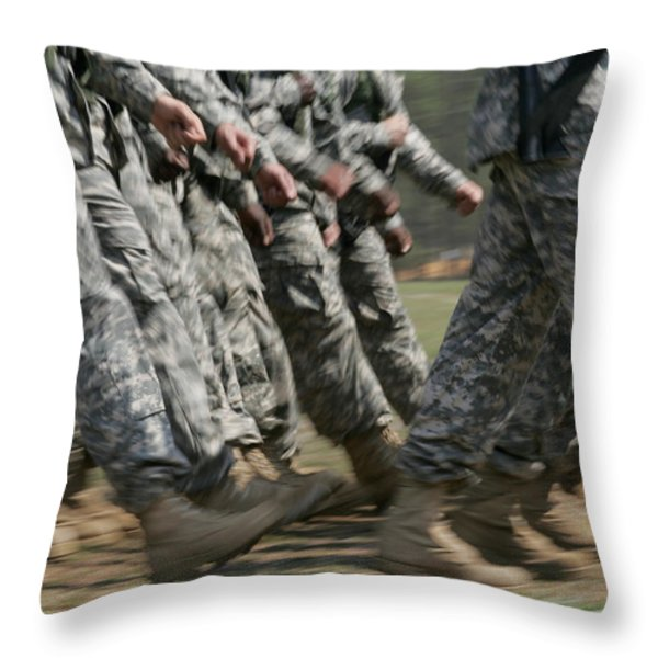 Army Rangers Marching In Formation Throw Pillow by Skip Brown