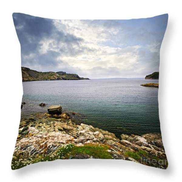 Atlantic Coast In Newfoundland Throw Pillow by Elena Elisseeva