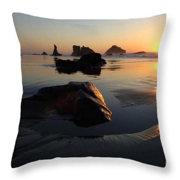 Bandon Beach Sunset Throw Pillow by Bob Christopher
