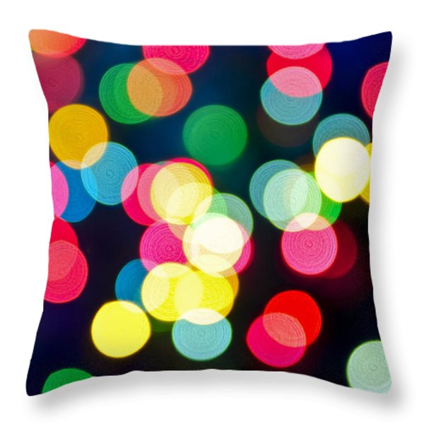 Blurred Christmas Lights Throw Pillow by Elena Elisseeva