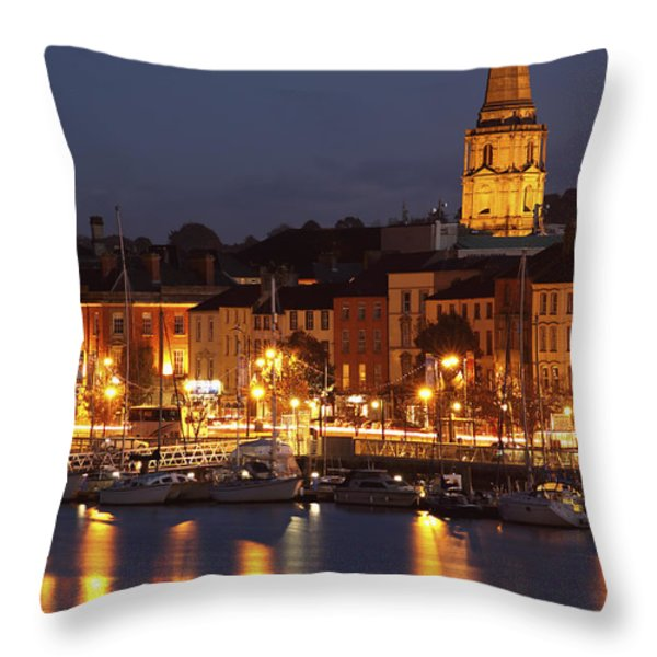 Boats Moored On River Suir At City Throw Pillow by Trish Punch