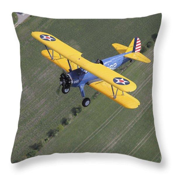 Boeing Stearman Model 75 Kaydet In U.s Throw Pillow by Daniel Karlsson