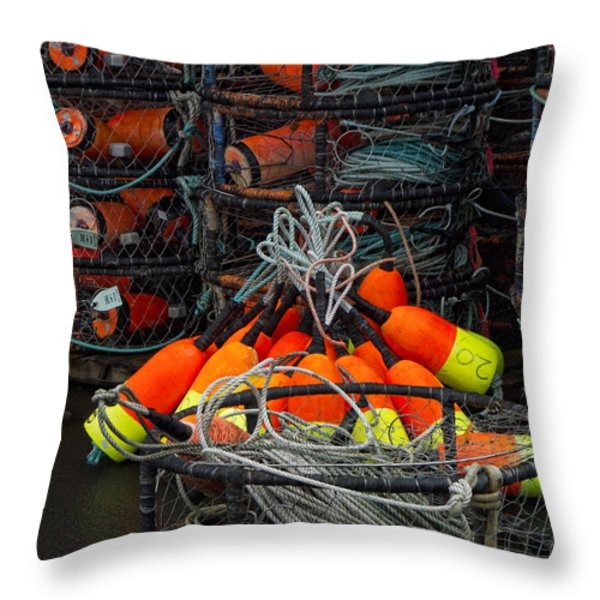 Buoys And Crabpots On The Oregon Coast Throw Pillow by Carol Leigh