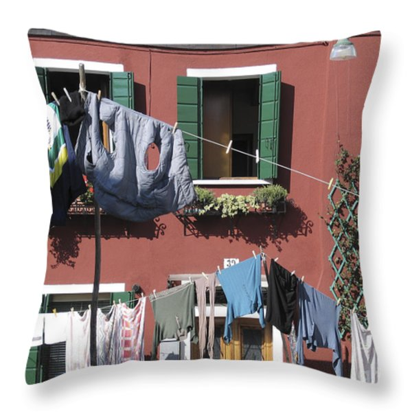 Burano. Venice Throw Pillow by BERNARD JAUBERT