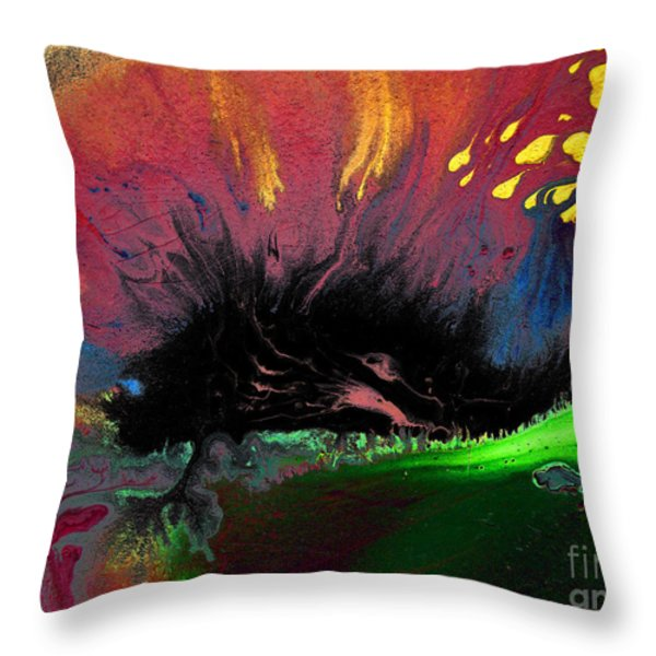 Colorful Water Color Painting Throw Pillow by Sumit Mehndiratta