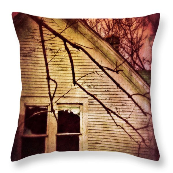 Creepy Abandoned House Throw Pillow by Jill Battaglia