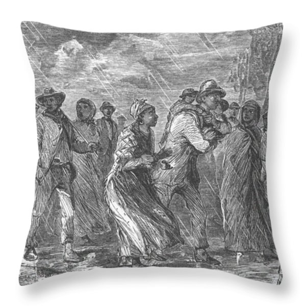 Escaping To Underground Railroad Throw Pillow by Photo Researchers