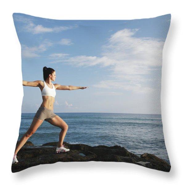Female doing Yoga Throw Pillow by Brandon Tabiolo - Printscapes
