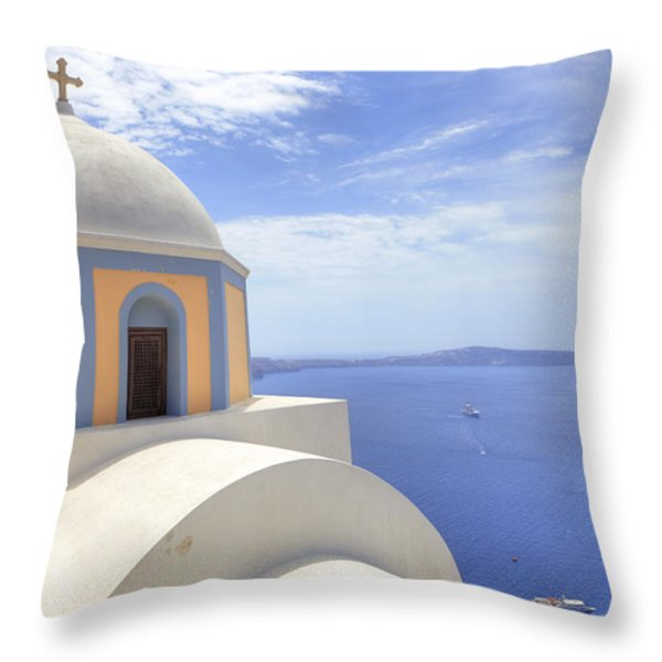 Fira - Santorini Throw Pillow by Joana Kruse