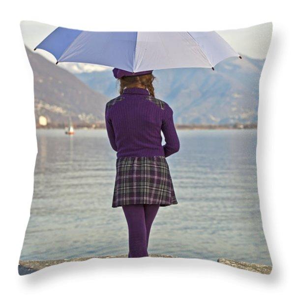 Girl with umbrella Throw Pillow by Joana Kruse