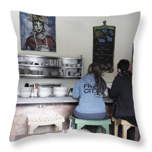 2 Girls at the Bakery Bar Throw Pillow by Kym Backland