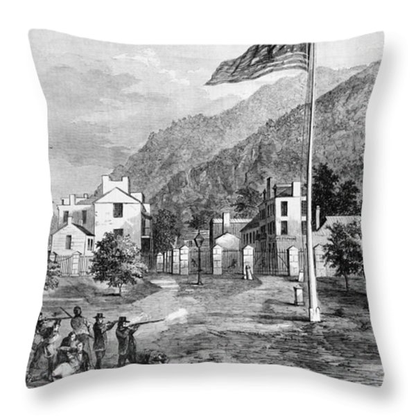 Harpers Ferry Insurrection, 1859 Throw Pillow by Photo Researchers