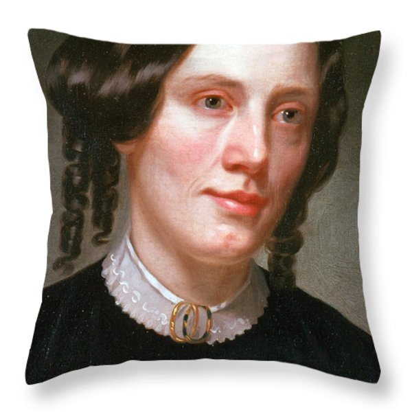 Harriet Beecher Stowe, American Throw Pillow by Photo Researchers