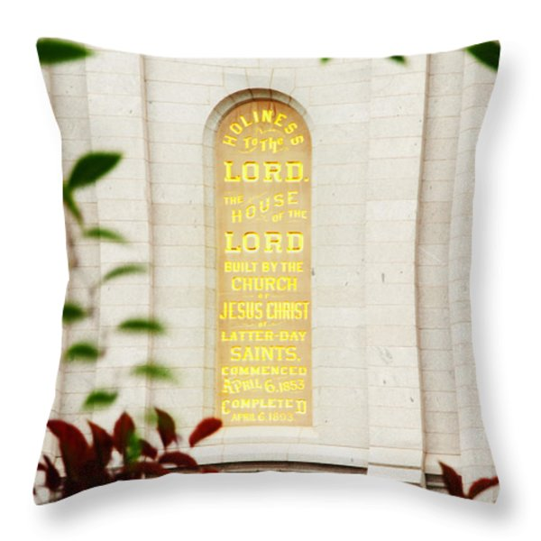 Holiness to The Lord Throw Pillow by La Rae  Roberts