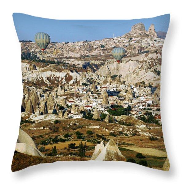 Hot air balloons over Cappadocia Throw Pillow by RicardMN Photography