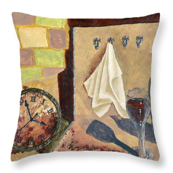 Kitchen Collage Throw Pillow by Susan Schmitz