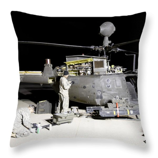 Maintenance Crew Works On Servicing Throw Pillow by Terry Moore