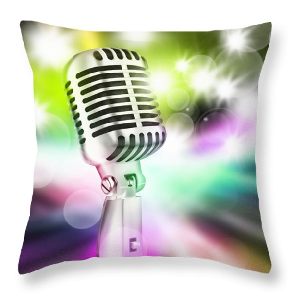 Microphone On Stage Throw Pillow by Setsiri Silapasuwanchai