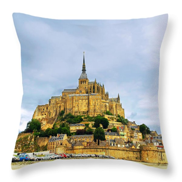 Mont Saint Michel Throw Pillow by Elena Elisseeva