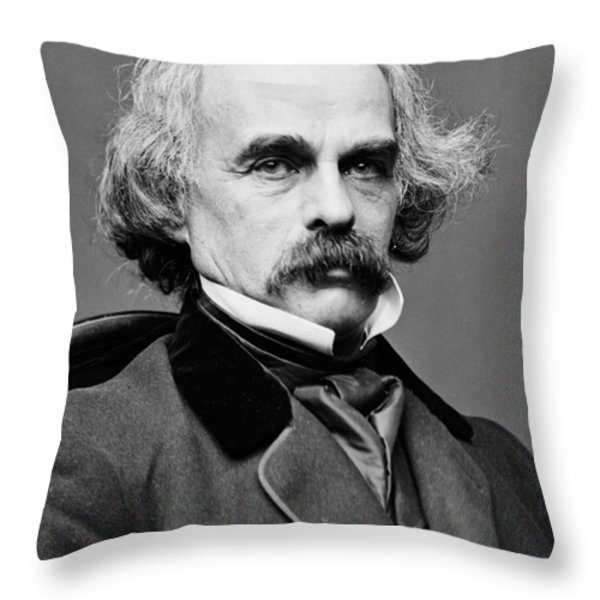 Nathaniel Hawthorne, American Author Throw Pillow by Photo Researchers