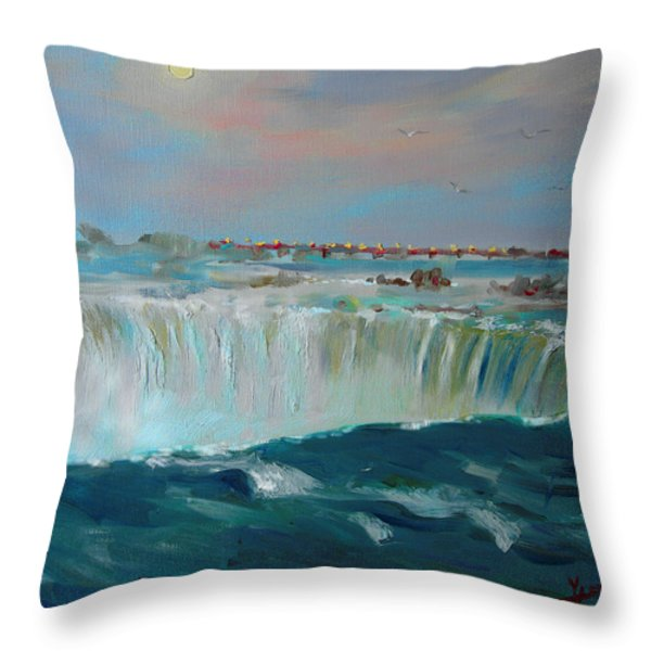 Niagara Falls Throw Pillow by Ylli Haruni