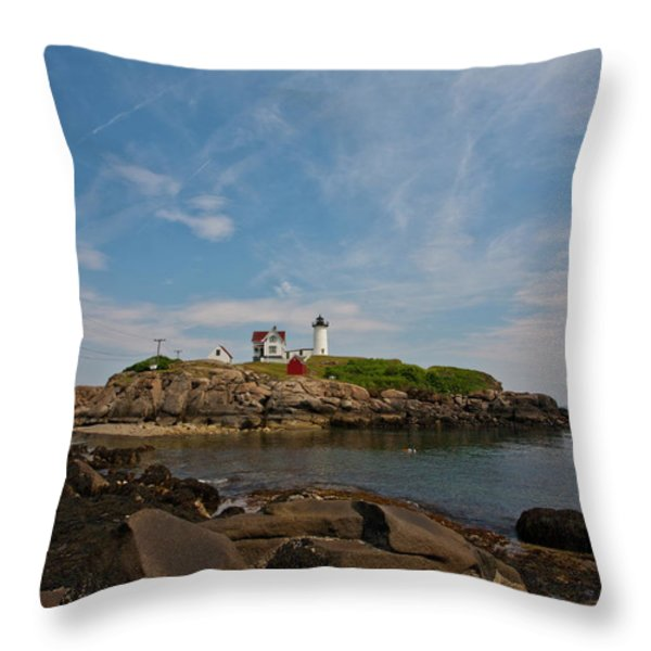 Nubble Lighthouse Throw Pillow by Warren Carrington